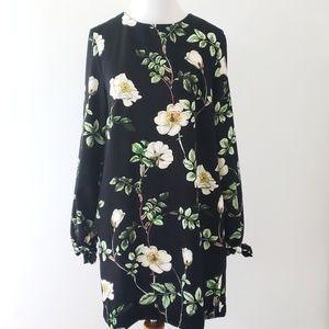 NWT H&M black floral shift dress LS tie wrist sz4